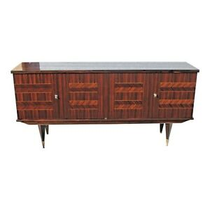 French Art Deco Exotic Macassar Ebony Diamond Inlay Sideboard Buffet 1940s