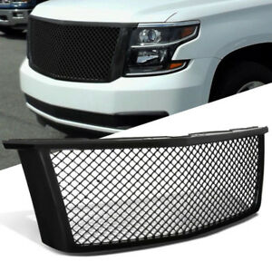 Front Hood Bumper Mesh Grille Grill Glossy Black For Chevy 15 18 Tahoe Suburban