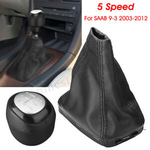 Black 5 Speed Pu Leather Gear Shift Knob Gaiter Boot Cover For Saab 9 3 2003 12