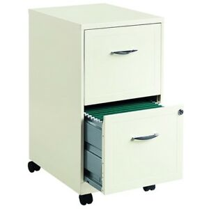 White Filing Cabinet 2 Drawer Steel Mobile File Rolling Locking Portable Office