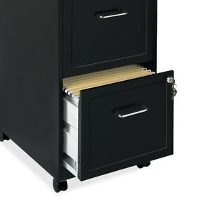 Black Filing Cabinet 2 Drawer Steel Mobile File Rolling Locking Portable Office