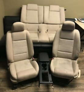 2005 09 Ford Mustang Complete Seats Driver Passenger Rear Seat Console Tan Cloth