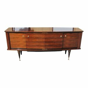 Classic French Art Deco Exotic Macassar Ebony Sideboard Buffet Circa 1940s
