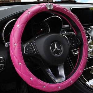 Pink Car Steering Wheel Cover 38cm 15 Crown Bling Diamond Deluxe Pu Leather