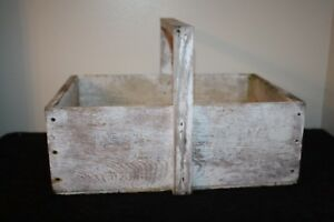 Vtg Old Painted Primitive Wood Garden Caddy Tool Box Tote Carrier Eat Raisins