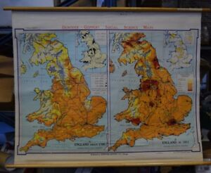 Vintage Denoyer Geppert Industrial England Pull Down Map 20438