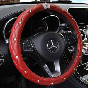 Red Car Steering Wheel Cover 38cm Crown Bling Diamond Deluxe Pu Leather Antislip