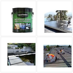 1 Gallon Black Liquid Rubber Waterproof Sealant Coating Water Based For Home