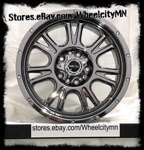 17 Inch Black Chrome Pvd Vision Fury 399 Rims Fits Chevy Silverado 5x127 5x5 0