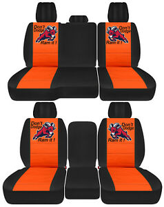 Front Back Car Seat Covers Blk Orange W Ram Fit 2011 2018dodge Ram 1500 2500