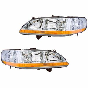 Fits 01 02 Honda Accord Driver Passenger Side Headlight Lamp Assembly 1 Pair