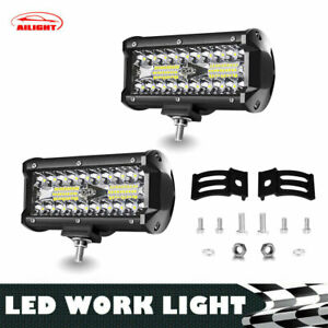 2x 5 Led Pod Work Rv Light Bar Flood Beam Off Road Driving Fog Lights 12v 7inch