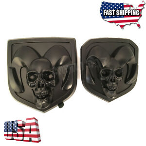 Black 3d Skull Rams Head Grille Tailgate Emblem For Ram 1500 2500 3500 2013 2018