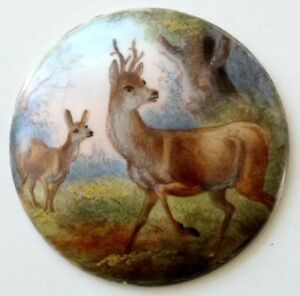 Antique Hand Painted Miniature Porcelain Plaque Medallion Painting W Stag Deer