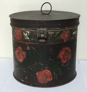 Antique Toleware Painted Tin Box Sugar Box Spice Box Early Nh Estate Red Flowers