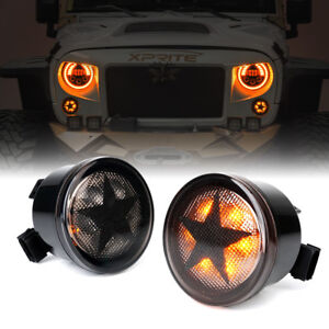 Xprite Smoke Lens Led Turn Signal Lights Assembly For 2007 2018 Jeep Wrangler Jk