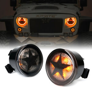 Xprite Smoke Lens Led Turn Signal Light With Star For 07 18 Jeep Wrangler Jk