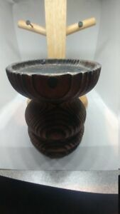 Mid Century Tiki Witco Style Wood Candle Holder Base