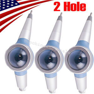 3x Blue Dental Hygiene Luxury Jet Air Polisher Teeth Polishing Handpiece 2 Hole
