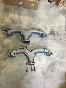 1957 Chevy 283 Engine Matching Exhaust Manifolds Heat Cleaned Painted
