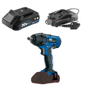 Draper 20v Cordless 1 2 Impact Wrench Ratchet 2ah Battery Charger 89519
