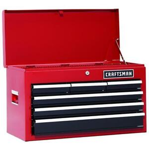 Craftsman 26 In 6 drawer Heavy duty Ball Bearing Top Chest Tool Box Red New