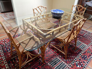 Vintage 50 S Rattan Dining Set With 4 Chairs In The 1 Most Desirable Pattern
