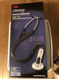3m Littmann 3100 Electronic Stethoscope Black 27 w Ambient Noise Reduction