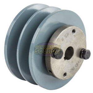 Cast Iron 3 75 2 Groove Dual Belt B Section 5l Pulley With 5 8 Sheave Bushing