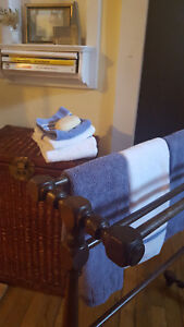 Antique Wooden Towel Or Small Blanket Rack Turned Ends Legs Circa 1910