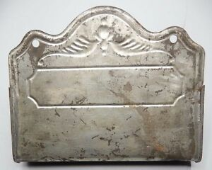 Antique Tin Wall Mount Comb Box Case Re Purpose For Keys Change Junk Etc