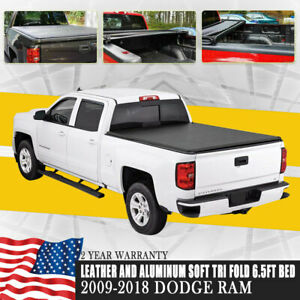 Lock Hard Tri Fold Tonneau Cover For 2009 2019 Dodge Ram 5 7ft 68 4in Short Bed
