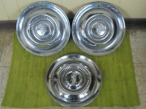 54 55 Lincoln Hub Caps 15 Set Of 3 Wheel Covers Hubcaps 1954 1955