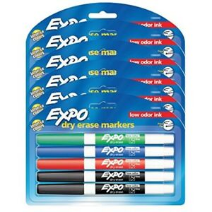 Expo Low Odor Dry Erase Markers Fine Tip Assorted Colors 6 Packs Of 4 24 Count