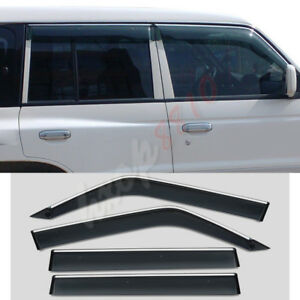 For 1998 Mitsubishi Pajero Brown Blade Side Sunny Visor Shield Stainless Steel