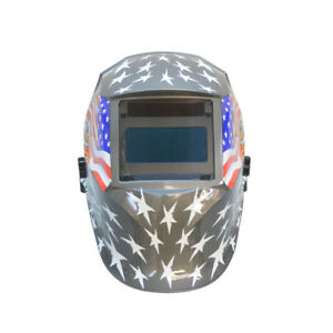 Solar Auto Darkening Welding Helmet 9 13 Lens Shade Usa Flag Eagle Design