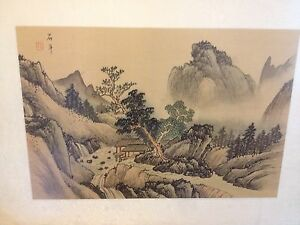 Antique 20th Century Chinese Scholar Painting Landscape On Silk Signed Gorgeous