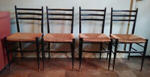 Set 4 Vntg Gio Ponti Style Ebony Ladderback Rush Seat Side Dining Chairs Italy