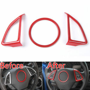 Abs Interior Steering Wheel Cover Trim Decor Ring Red For Chevrolet Camaro 2017