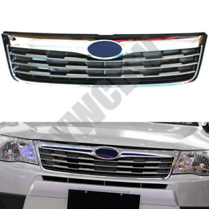 Chrome Front Bumper Middle Grille Mesh Grill Overlay For Subaru Forester 2008 10