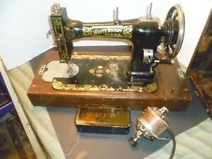 White Rotary Sewing Machine Vintage Has Attachments In Case