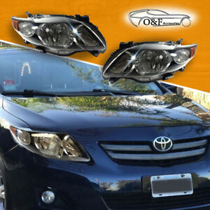 Toyota Corolla Headlights Black Housing Lamps Pair Set Fits For 2009 To 2010