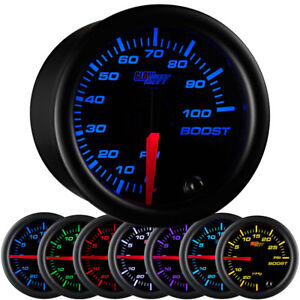 52mm Glowshift Black 7 Color 100 Psi Turbo Diesel Boost Gauge