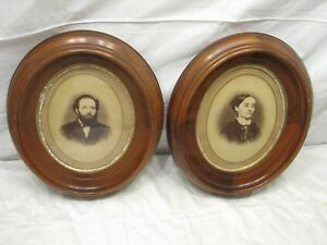 Matched Pair Deepwell Couple Photo Wooden Picture Frame Mahogany Deep Well Oval