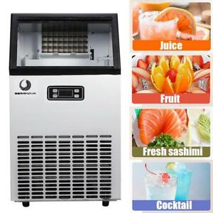 100lbs Stainless Steel Auto Commercial Ice Maker Cube Machine Bar Undercounter