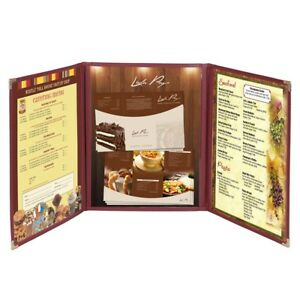 30pcs Menu Cover 8 5x14 Triple Fold 6 View Double Stitch Restaurant Deli Cafe
