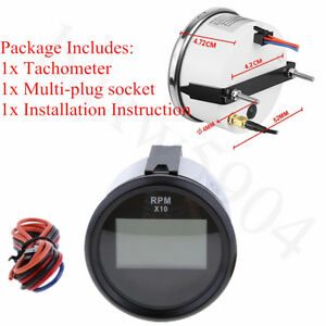 52mm Boat Car Truck Motorcycle Waterproof Led Digital Tachometer Red Backlight