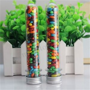 10 50pcs Plastic Lab Test Tubes Metal Caps Screw Top Lid Candy Wedding Party