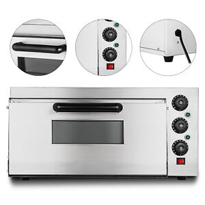 Electric 2000w Pizza Oven Single Deck Cooking Rotisserie Ceramic Stone 110v