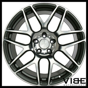 20 Ace Mesh 7 Grey Machined Concave Wheels Rims Fits Ford Mustang Shelby Gt